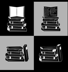 a collection books pile books vector image