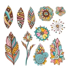 Abstract floral set with hand drawn doodle vector