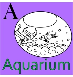 Alphabet Coloring book aquarium A letter vector