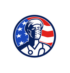 American doctor surgical mask usa flag circle icon vector
