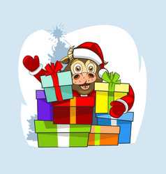Babull in santa claus clothes and a lot of vector