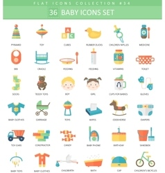 Baby color flat icon set Elegant style vector