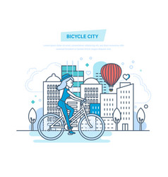 bicycle city girl rides in park and entertainment vector image