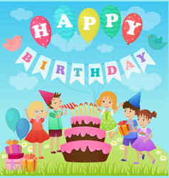 Birthday party for kids cartoon vector