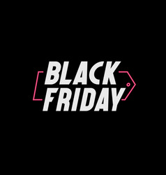 black friday background with neon tag vector image