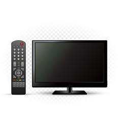 Black tv with remote control vector
