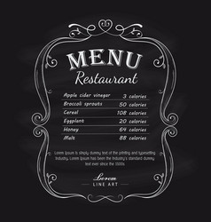 blackboard restaurant menu vintage hand drawn vector image