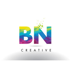 Bn b n colorful letter origami triangles design vector