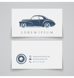 Business card template classic car logo vector