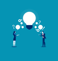 Business person exchanging question and idea vector