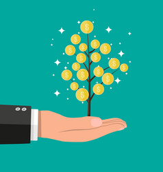 Businessman hand with coin tree vector