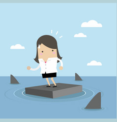 businesswoman standing on briefcase in the sea vector image