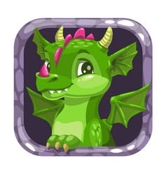 Cartoon app icon with funny green young dragon vector
