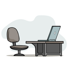 Cartoon laptop on table with office chair vector