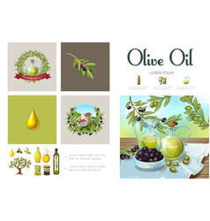 Cartoon natural olive infographic template vector