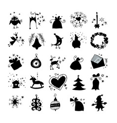 christmas and winter icons collection silhouette vector image