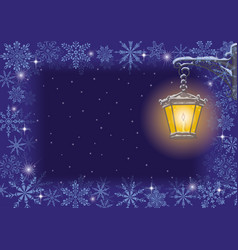 christmas card vintage lamp and snowflakes vector image