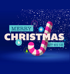 christmas greeting card flat design vector image