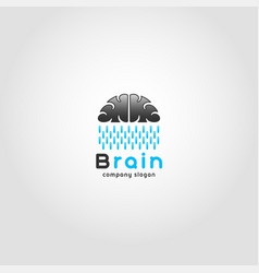 cloud rain - brain logo with combination concept vector image