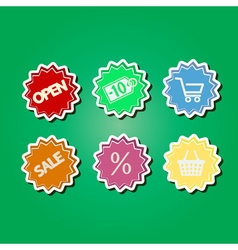 color icons with shopping icons vector image
