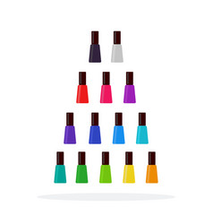 colorful nail polishes flat material design vector image