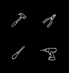 Construction tools chalk icons set vector