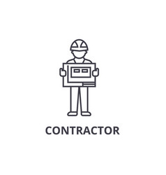 Contractor line icon sign on vector