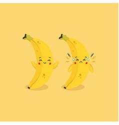 Cute banana smiling and sad expression vector