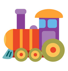 cute colored steam train toy flat isolated object vector image
