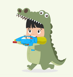 cute kid crocodile costume with water gun vector image