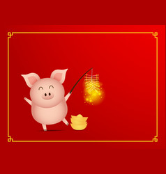 Cute pig with firecracker on red background vector