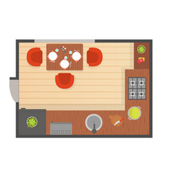 dining room modern interior top view detailed vector image