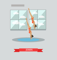 diving concept in flat style vector image