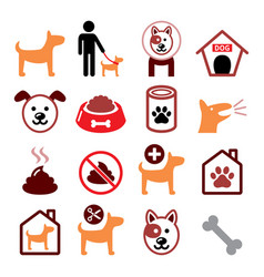 dog pet color icon set - vet dogs food dog hot vector image