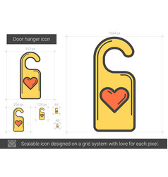 Door hanger line icon vector