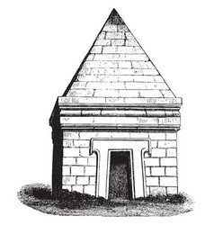 Etruscan tomb at castel dasso vintage engraving vector