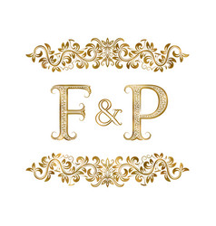 f and p vintage initials logo symbol vector image