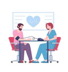 Female doctor cardiologist measure blood pressure vector