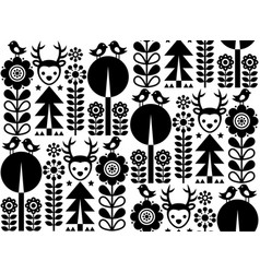 finnish inspired seamless folk art pattern vector image