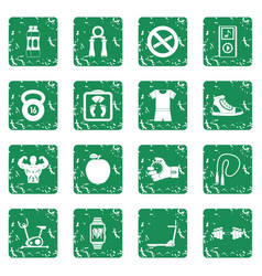 Fitness icons set grunge vector