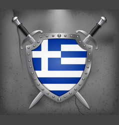 flag of greece the shield with national flag two vector image