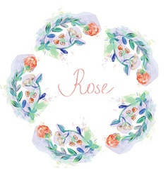 Floral circle frame with roses - watercolor style vector