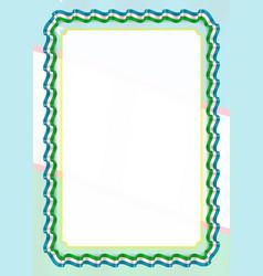 Frame and border of ribbon with uzbekistan flag vector