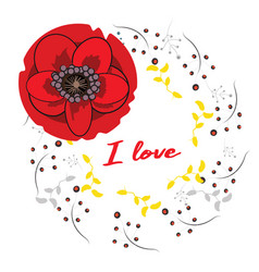 Frame with hand drawn red poppies and i vector