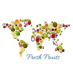 Fresh fruits in world map vector