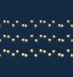 garland with different bulbs with glow different vector image