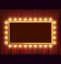 gold frame with light bulbs on red velvet curtain vector image