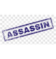 Grunge assassin rectangle stamp vector