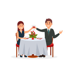 happy couple in love sitting in the cafe and vector image