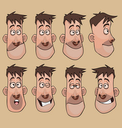 Head a cartoon man in different angles vector